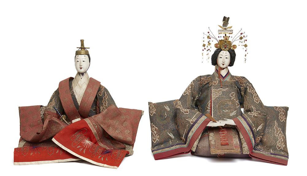 Two large old ningyo-dolls for the doll-festival (hinamatsuri): the empress