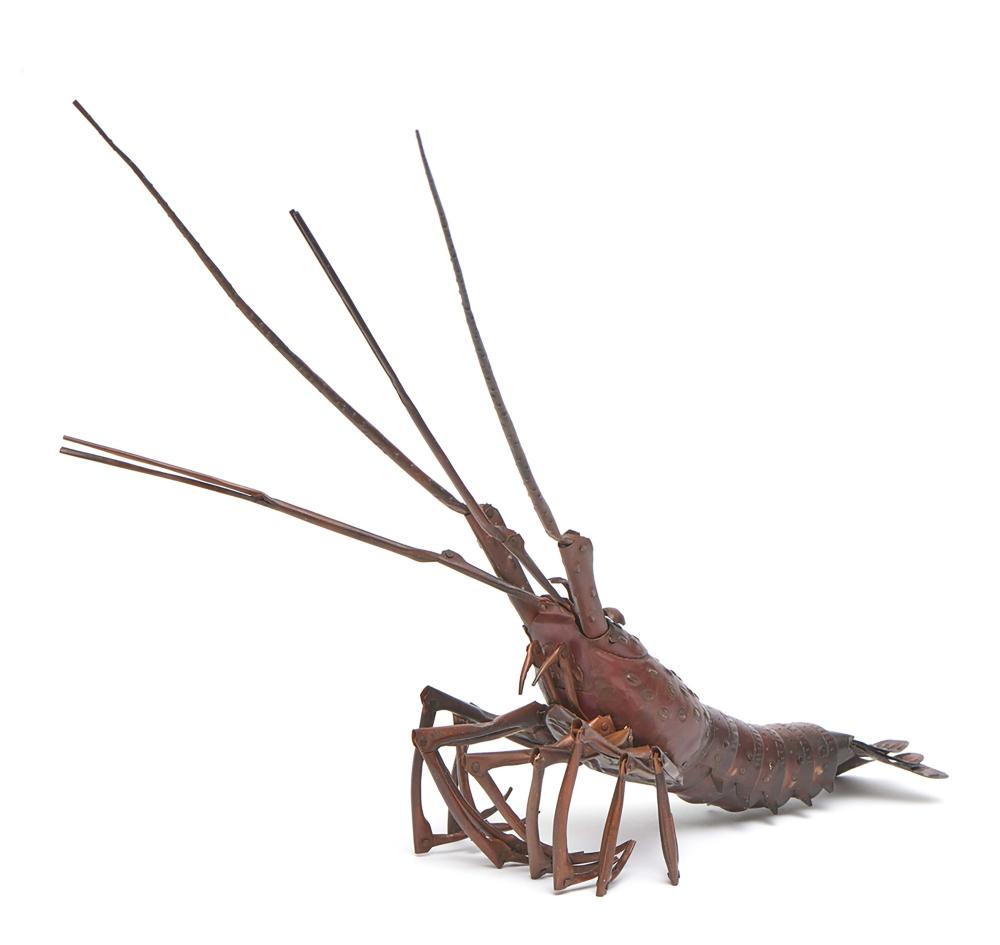 Copper sheet model of a Japanese spiny lobster (Ise'ebi), all parts are 
