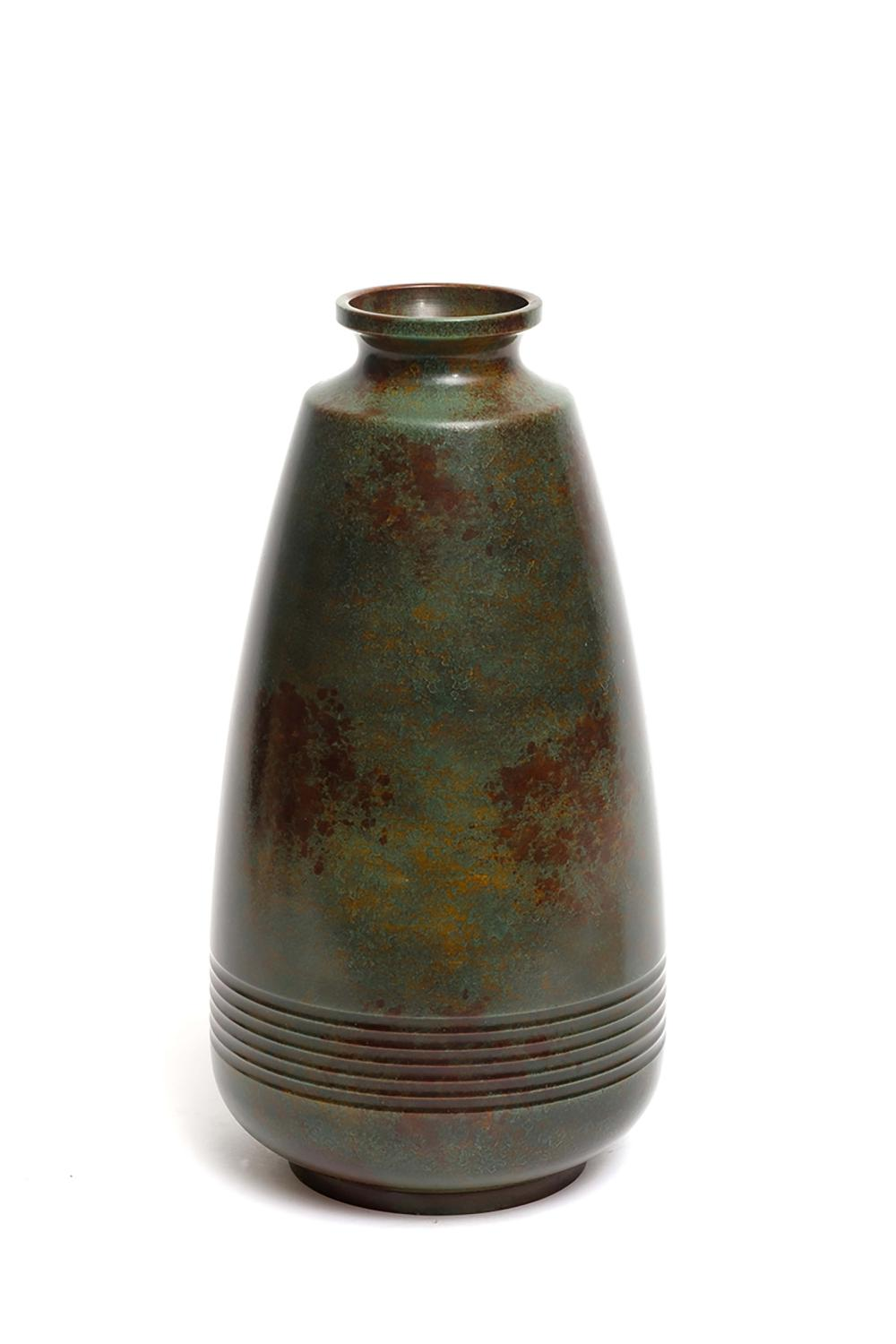 Green brown bronze tapered vase near the bottom decorated with decorative r