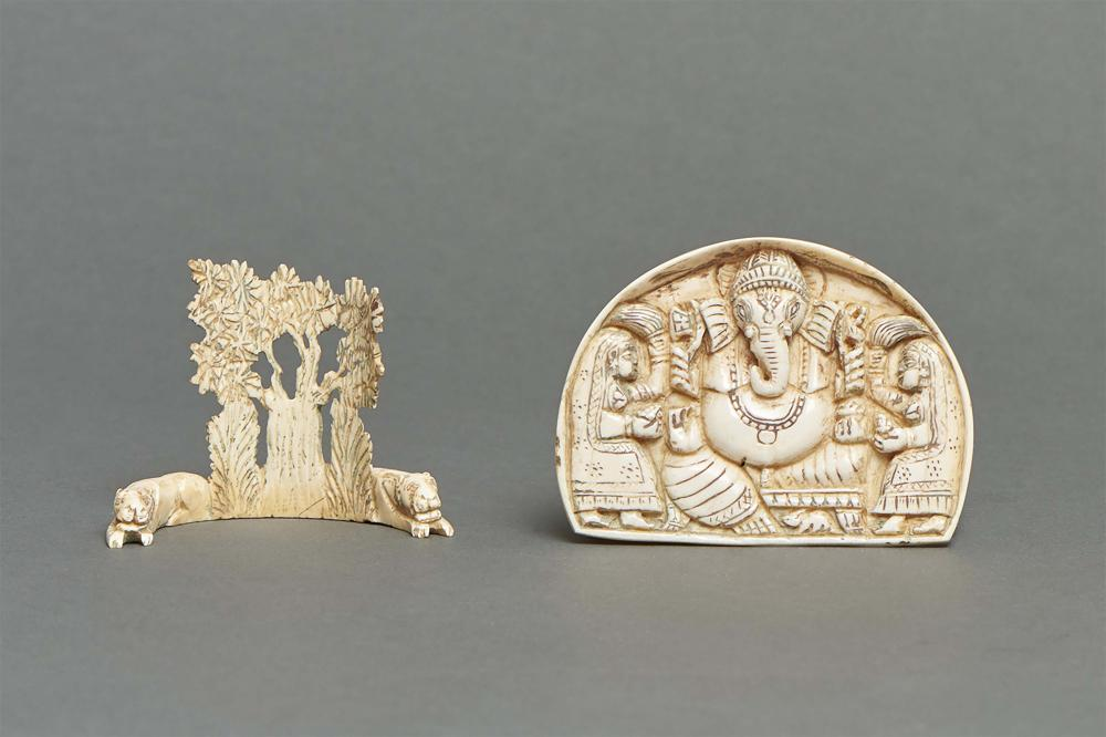 Two Indian ivory carvings: <br> An ivory plaque with a carving depicting th