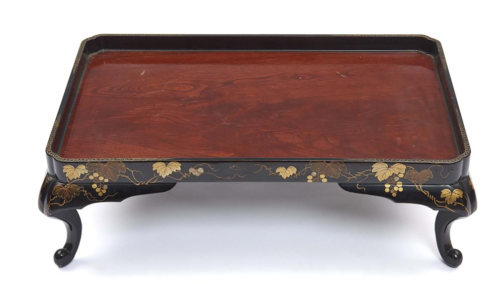 Low table (zen) with a transparent lacquered wooden top, the sides and the