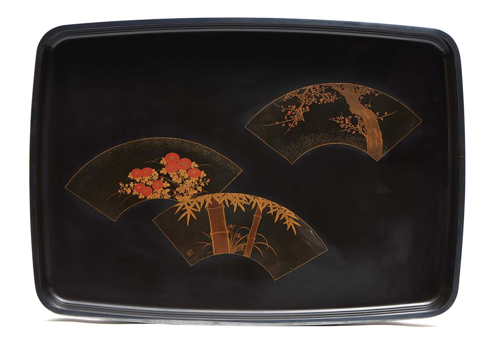 Black lacquered hirobuta tray with a silver rim, decorated with folding fan