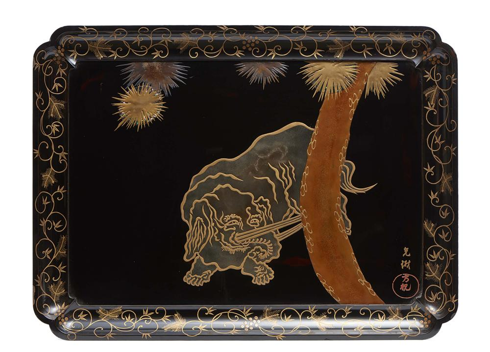 Rectangular black lacquered tray (hirobuta) decorated with a design in brow