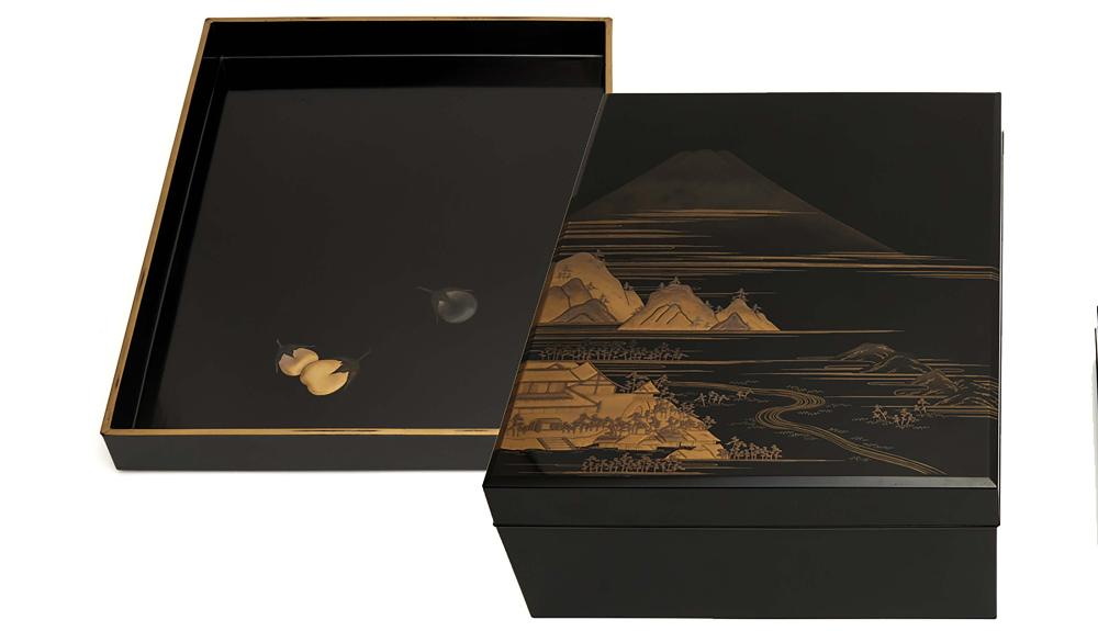 Set of a black lacquered writing box with matching large paper box. <br> Al