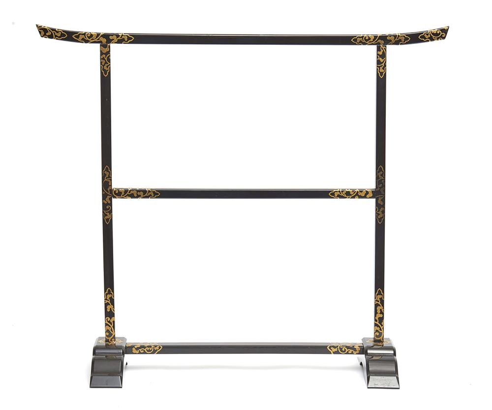 Small black lacquered clothing rack (ikō) decorated with floral scrolls and