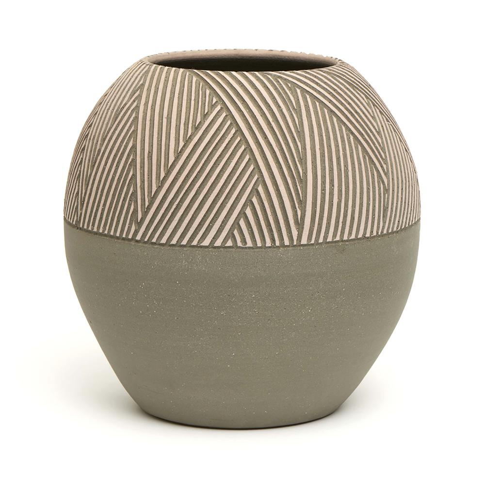 Grey stoneware globular vase with a geometrical frieze of incised lines by