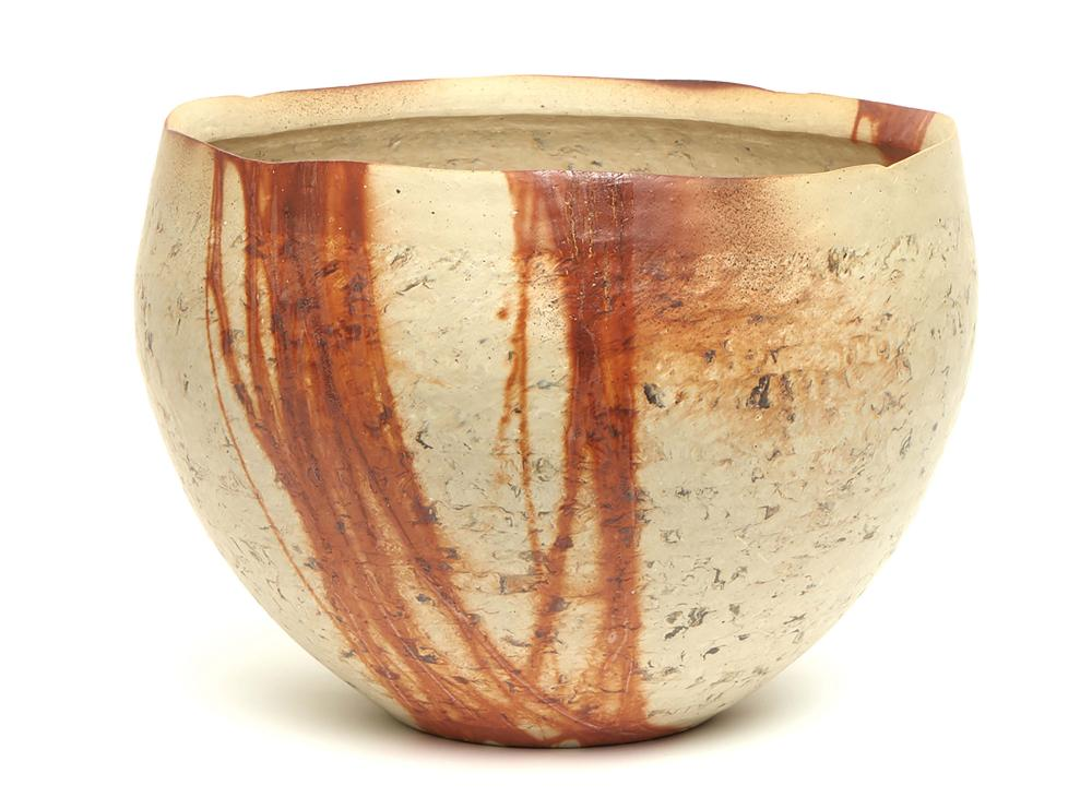 Large Bizen-stone ware bowl shaped vase decorated with abstract red-brown l