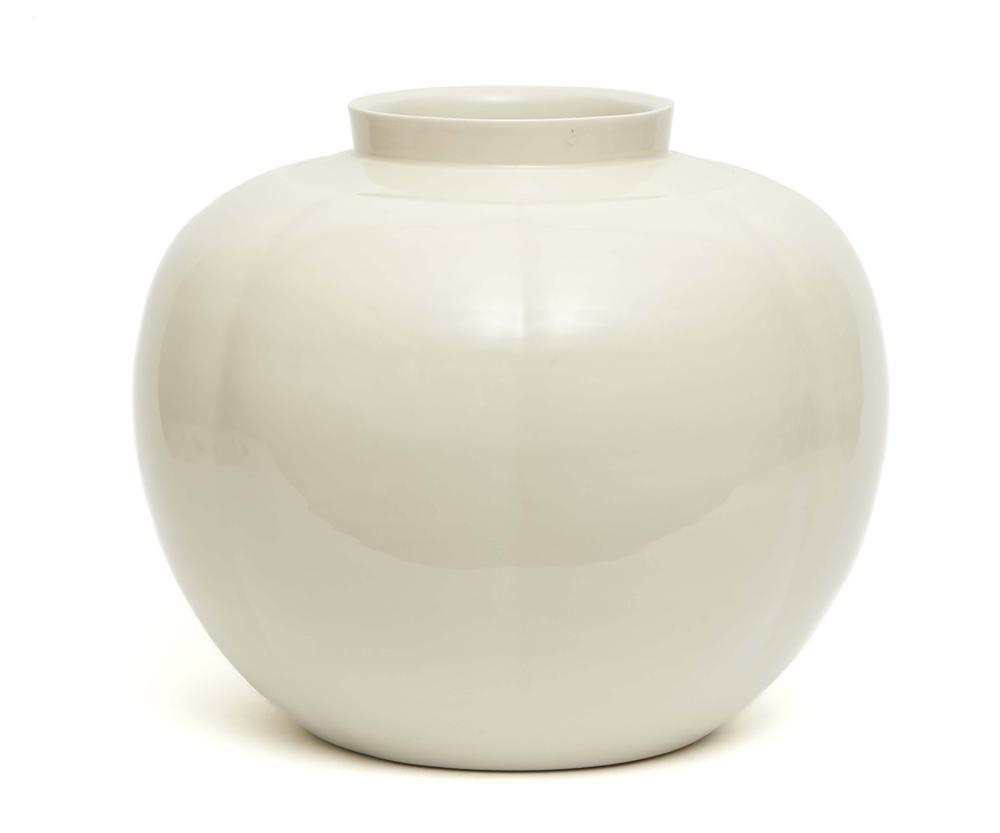 Large pumpkin shaped white glazed porcelain round vase by the contemporary