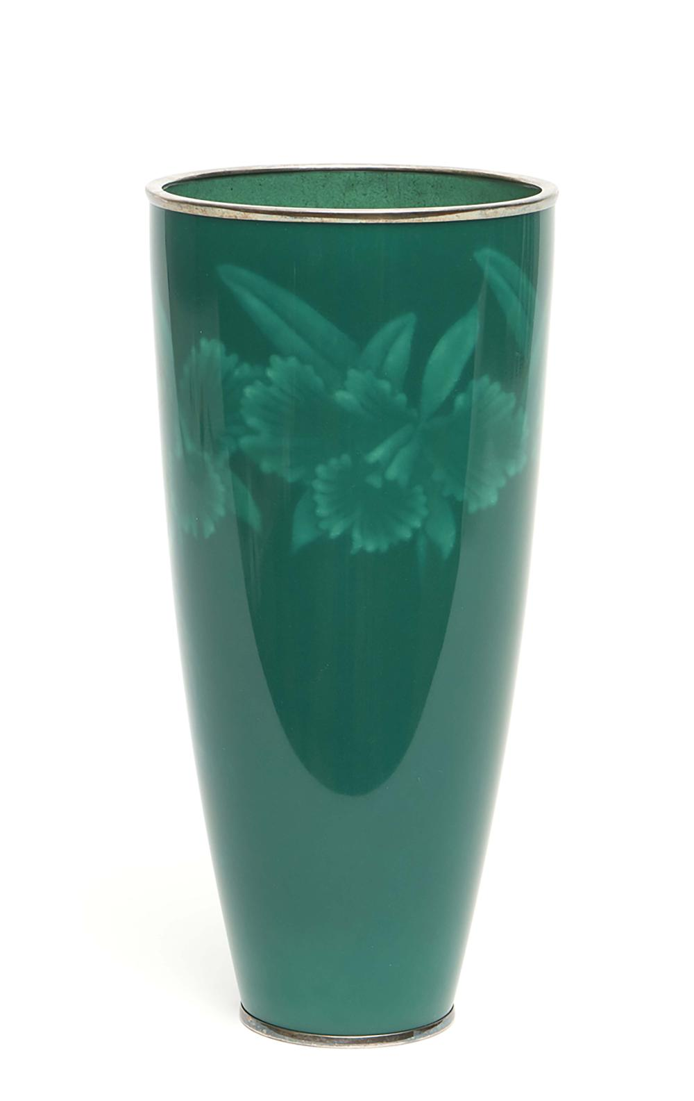 Dark green cloisonné vase broadening towards the top and decorated with a f