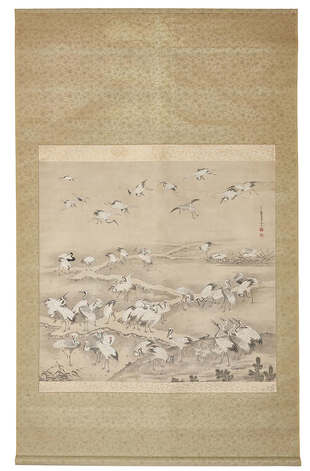 Hanging scroll (kakejiku) with a painting of a flock of white cranes gather