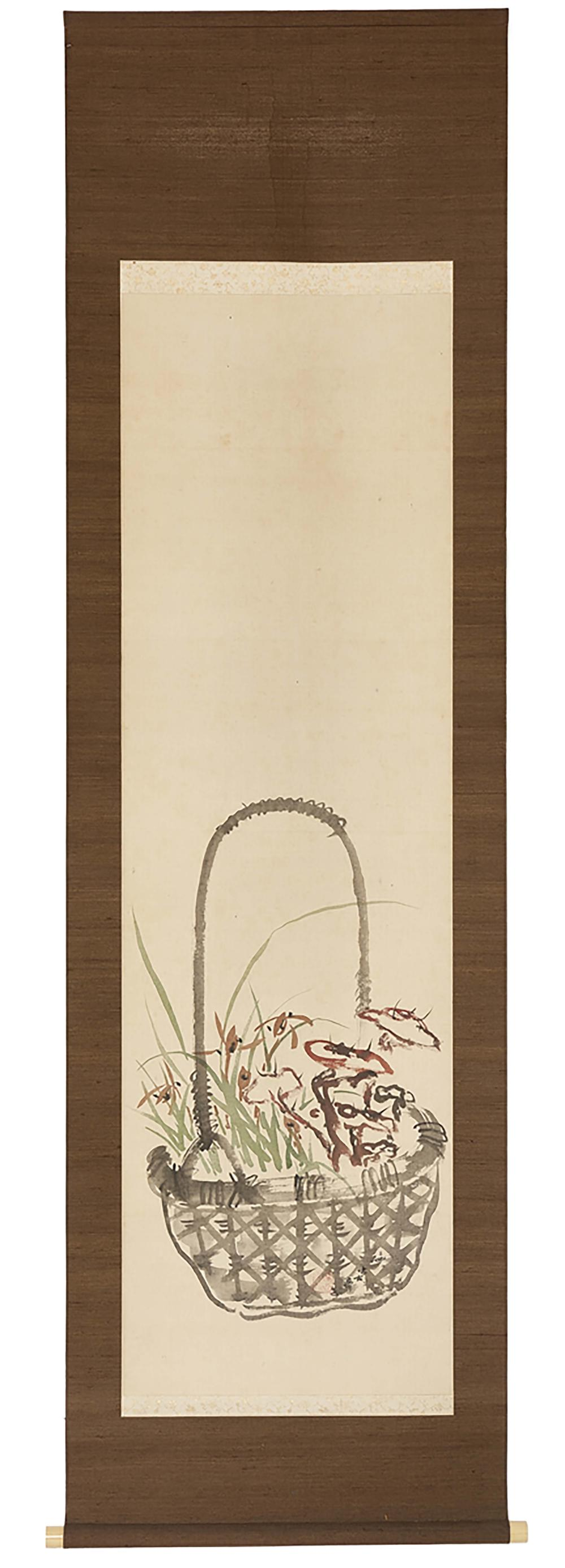 Hanging scroll (kakejiku) with a tinted painting depicting a flower basket