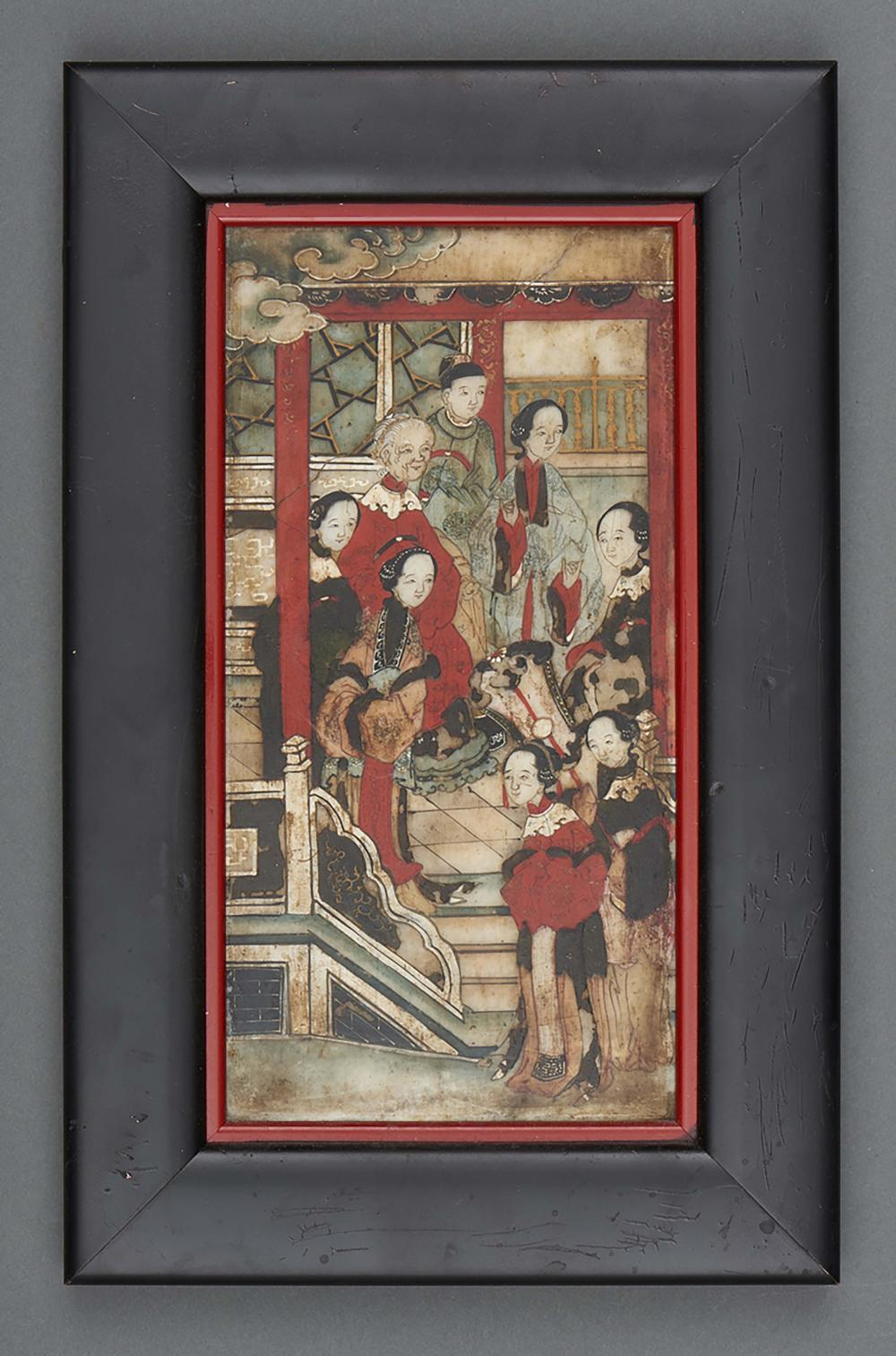 Stone panel inside a frame with a painting depicting Chinese ladies. The ba