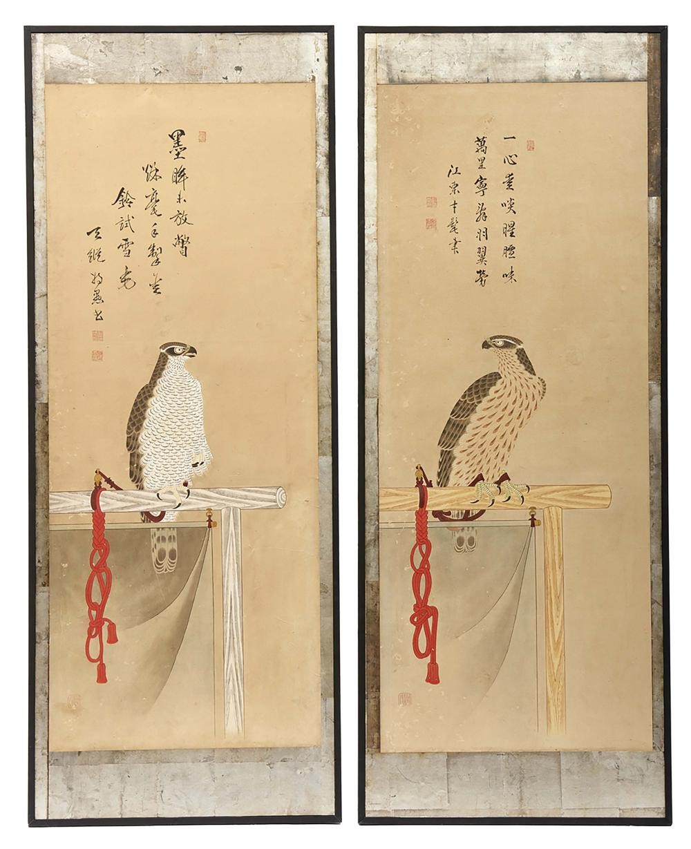 A pair of large panels with a polychrome painting pasted on silver-leaf dep