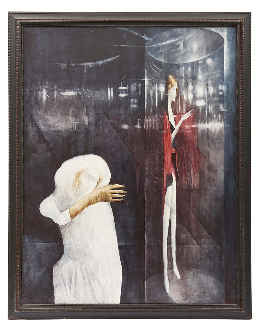 "Oil-painting titled ""In the Glass case"" (1983) by the Japanese painter Naka"