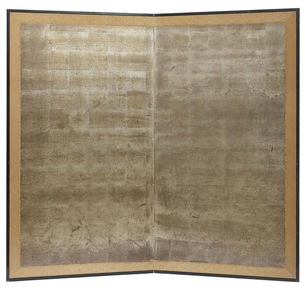 Two panel silver leaf byobu-screen. With gold brocade border. Taisho Period