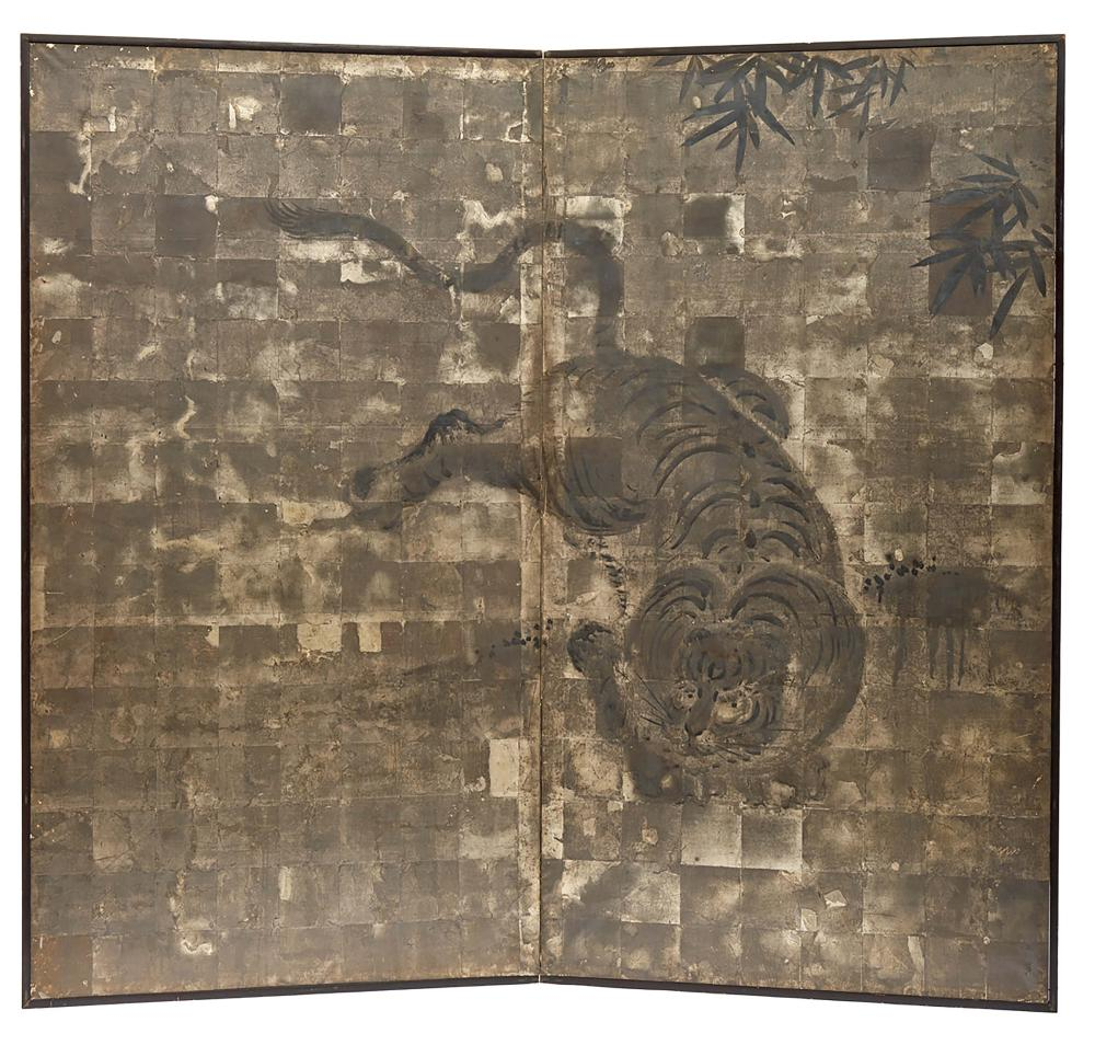 Two panel byobu screen with an anonymous painting of a tiger and some bambo