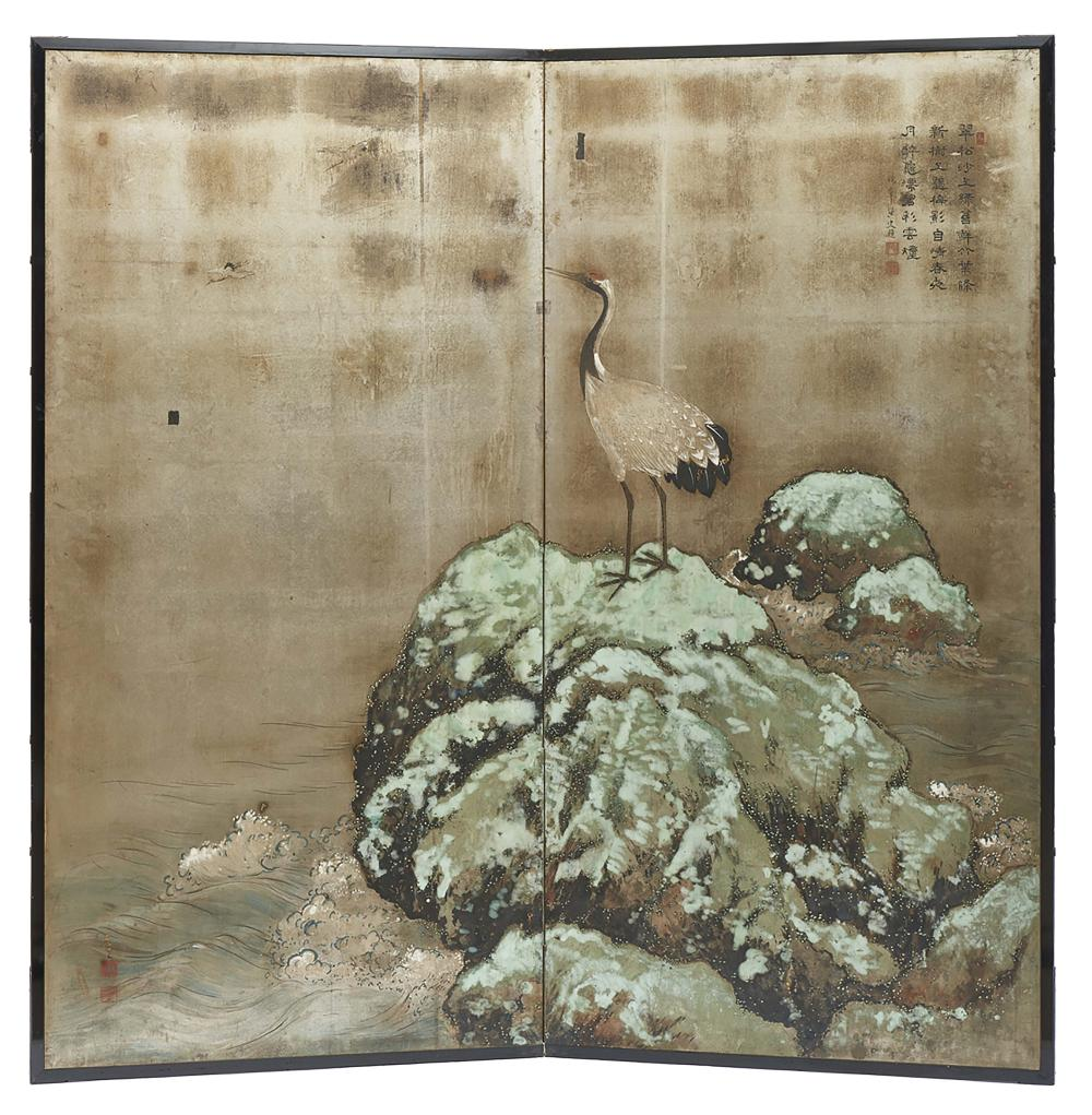 Two panel byobu screen with a painting of a crane bird standing on a rock i