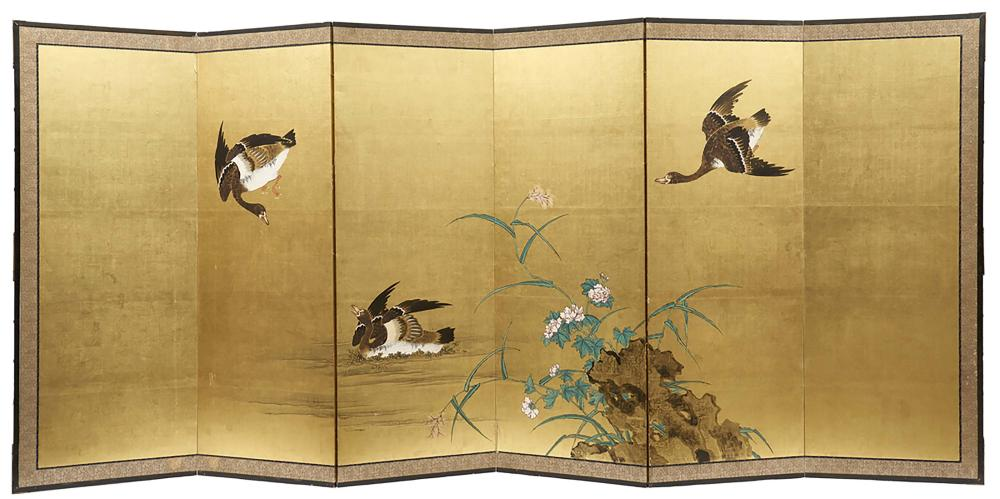 Six panel byobu screen with an anonymous painting of geese and peonies near