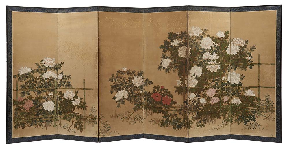 Set of two six panel byobu screens decorated with red and white botan peoni