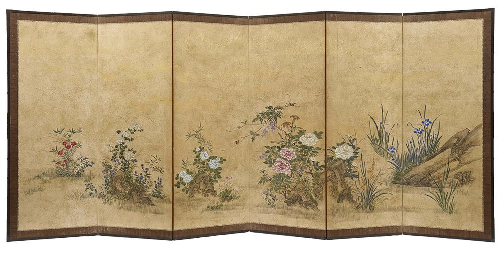 Set of two six panel byobu-screens with an anonymous polychrome painting of