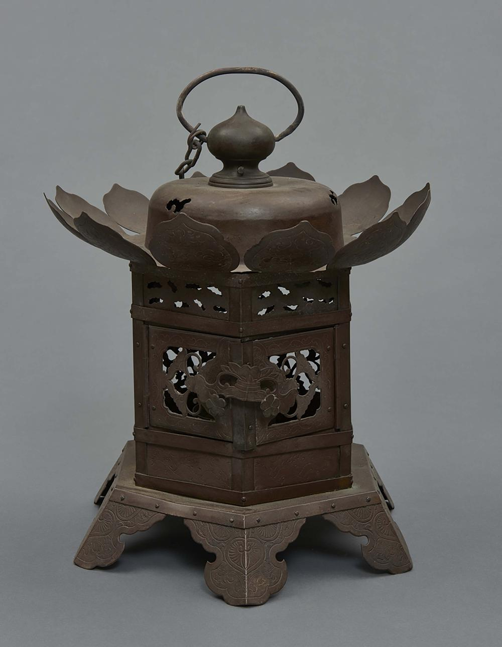Hexagonal bronze hanging temple lamp with the name of the donor and the dat
