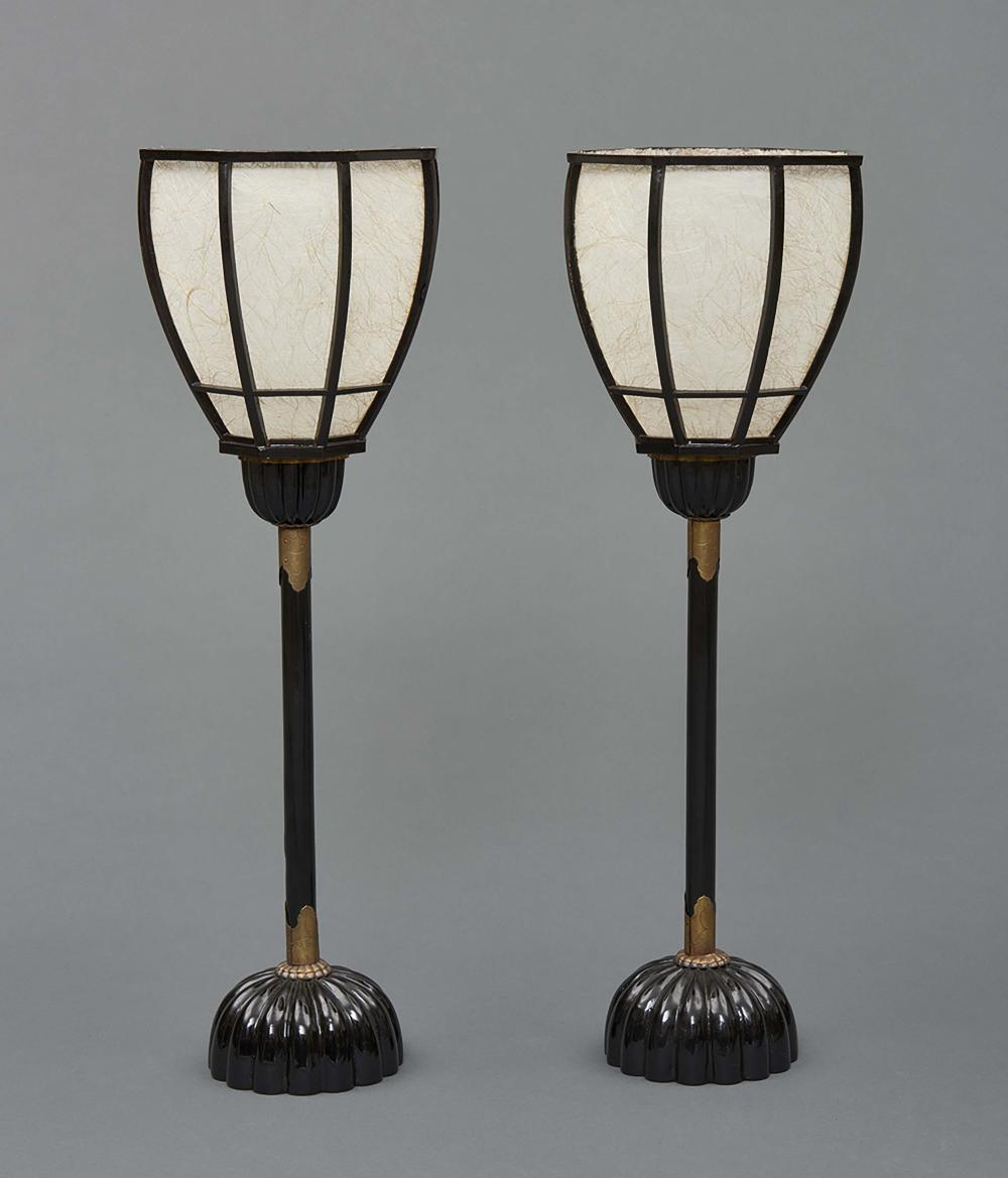 Set of two black lacquered wooden temple lamps for a candle with a chrysant