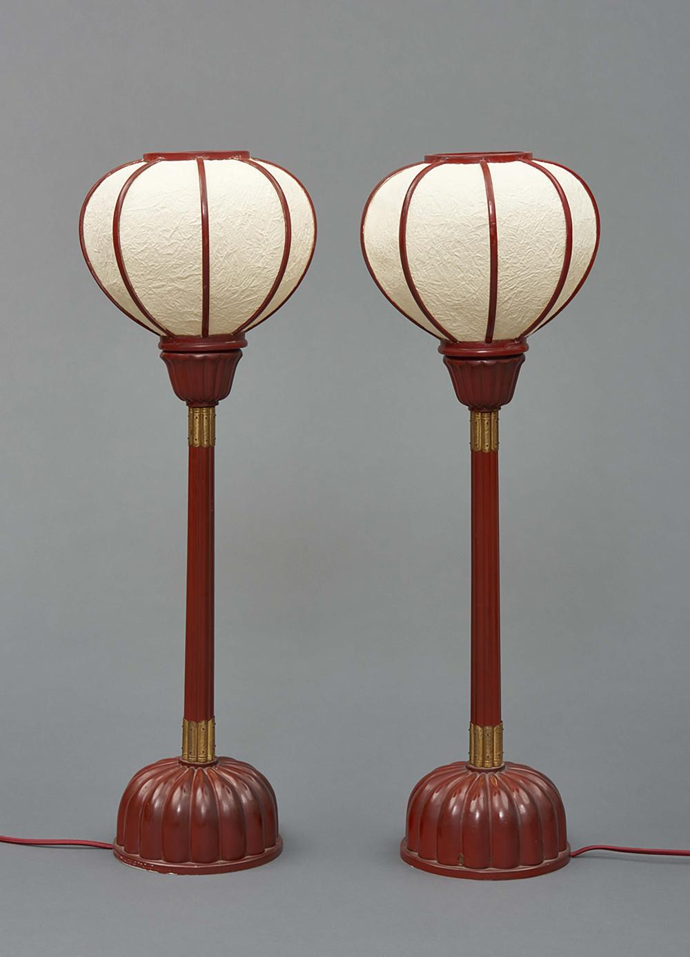 Set of two large red lacquered wooden temple lamps with globular lamp shade