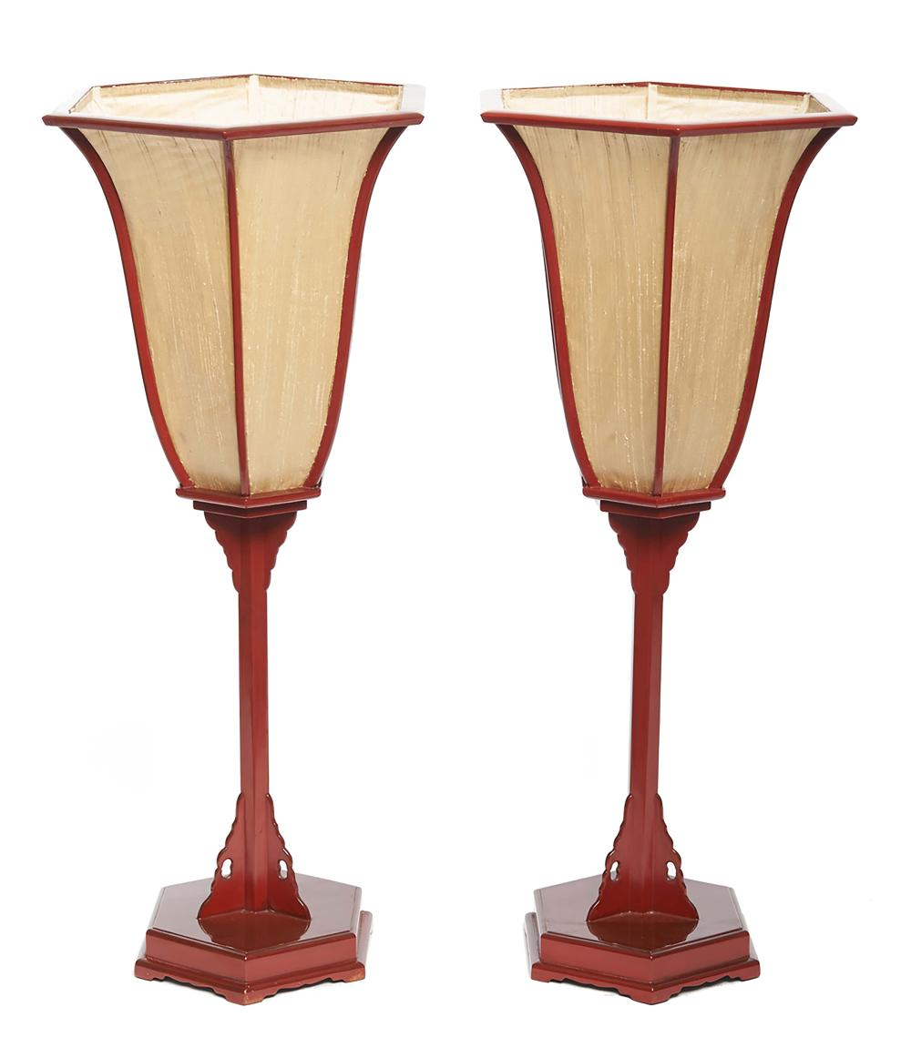 Set of two red lacquered hexagonal temple lamps (andon), the silk lampshade