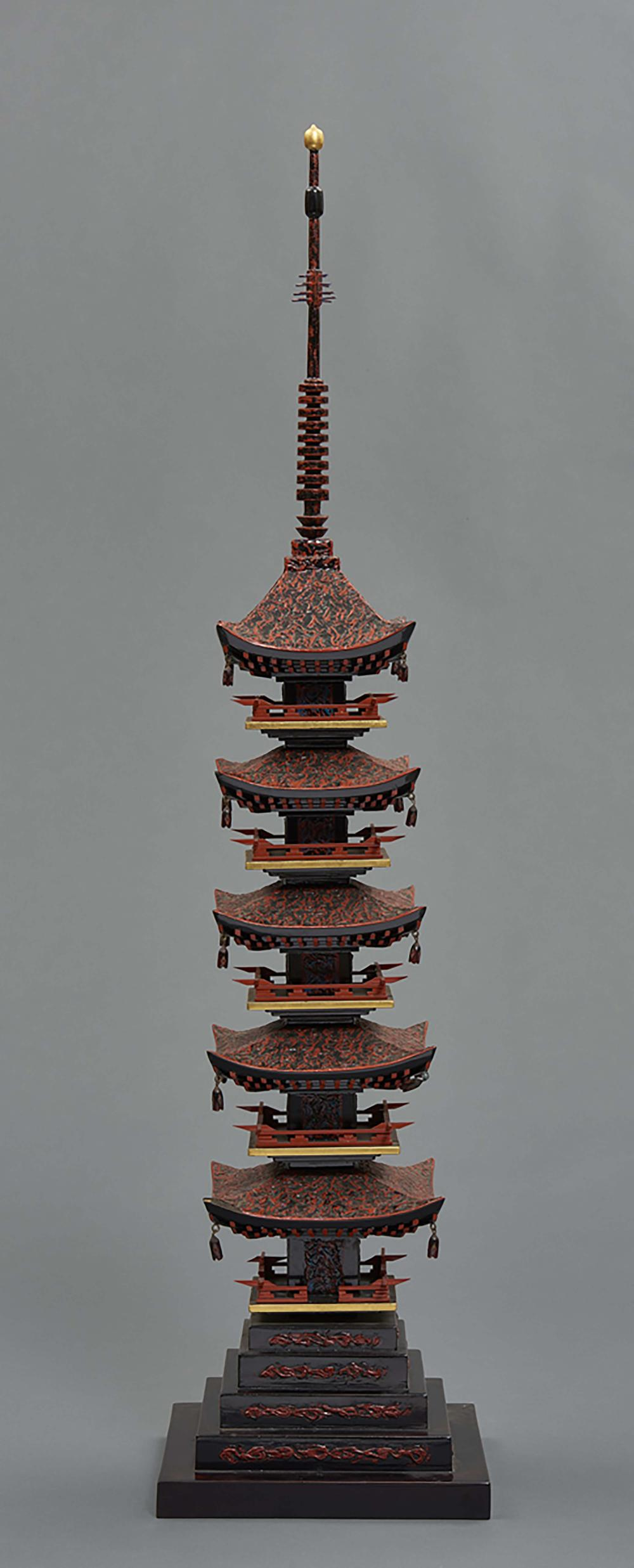 Wajima lacquer model of a five story-pagoda by the contemporary lacquer mas