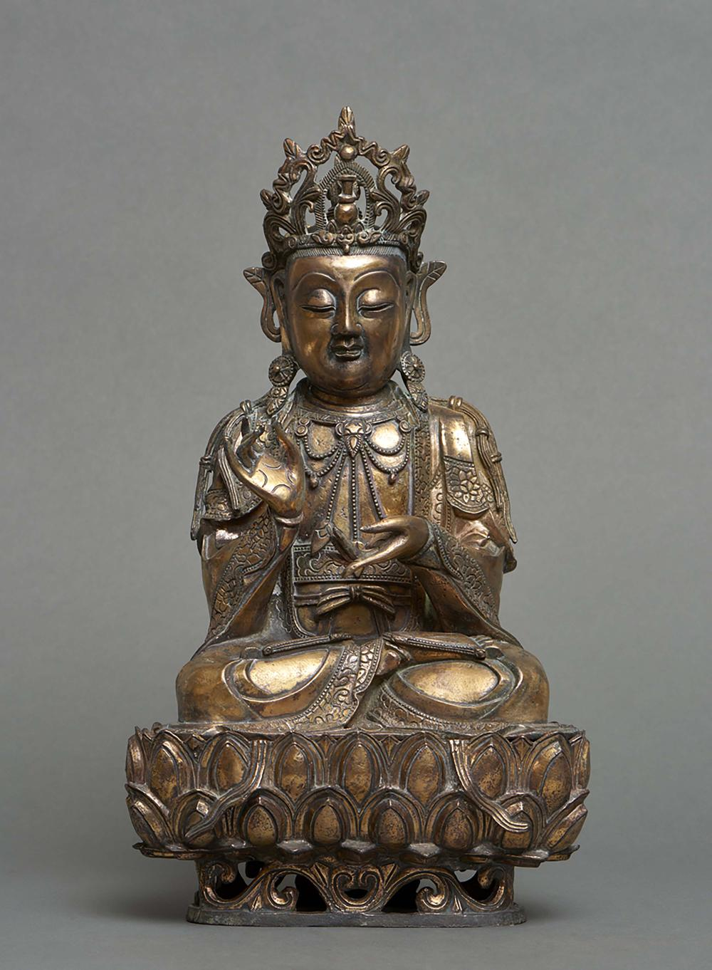 Chinese gilded bronze Buddha, seated on a lotus throne with legs crossed, t