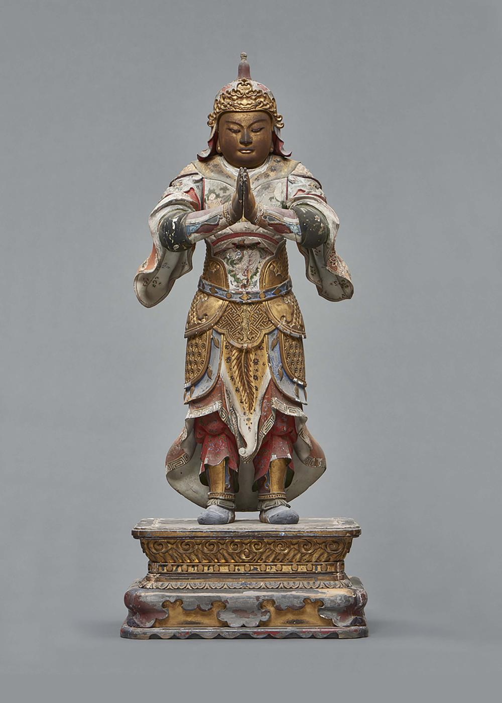 Rare and large wooden standing Idaten (Sanskrit: Skanda) with folded hands