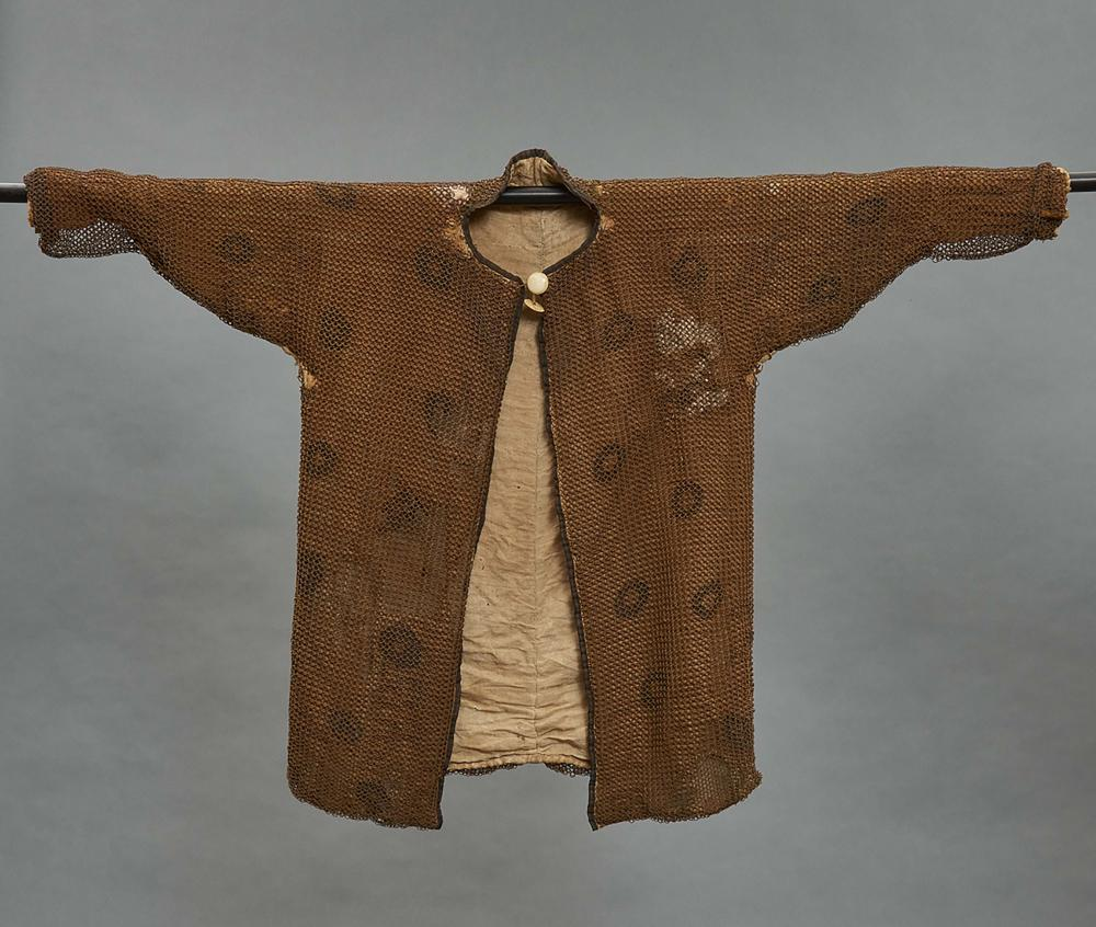 Rare heavy jacket for an adult with Japanese mail over cloth. With ivory bu