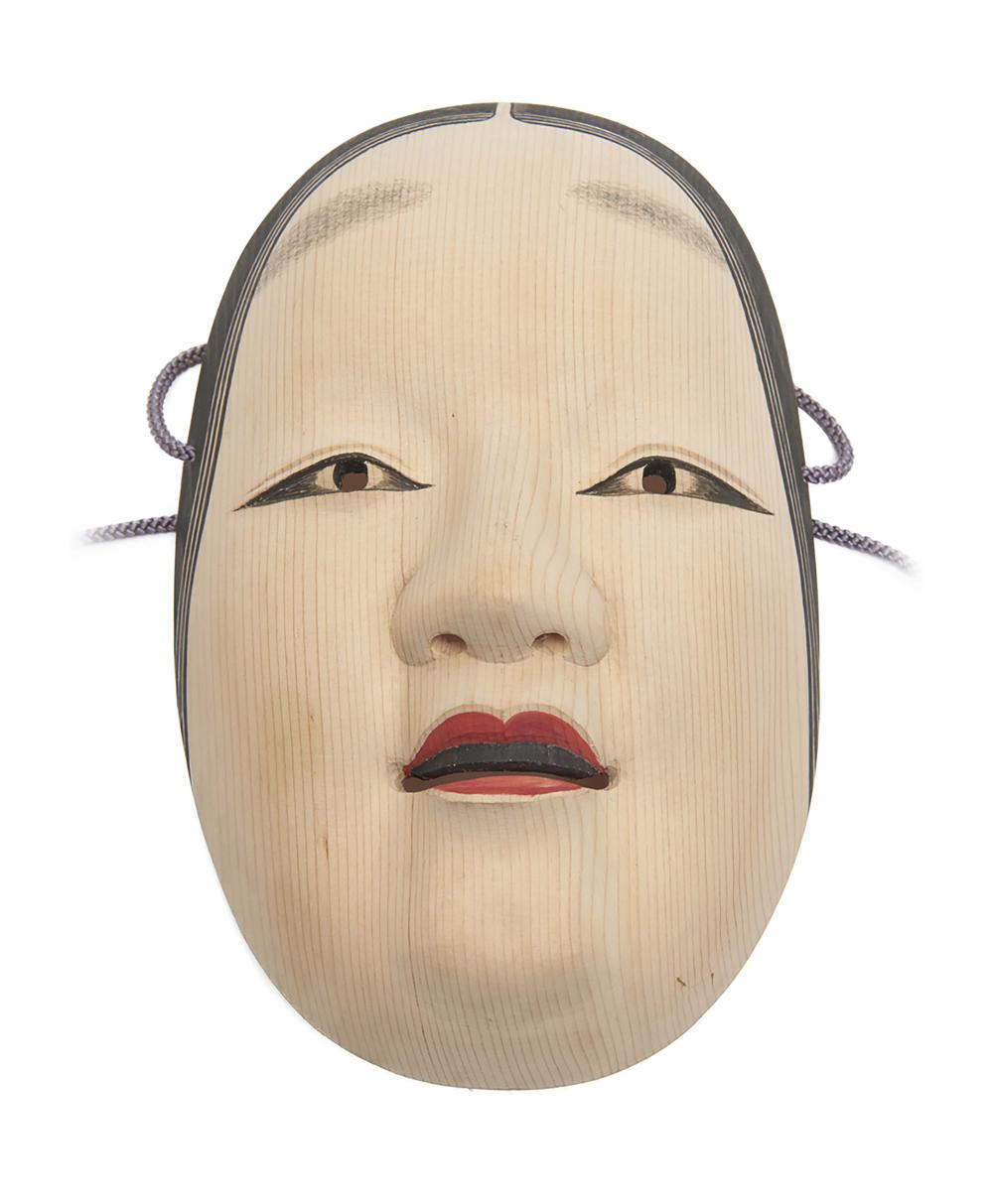 Plain wooden Nō-mask of a young woman (ko'omote), the lips painted red, bla