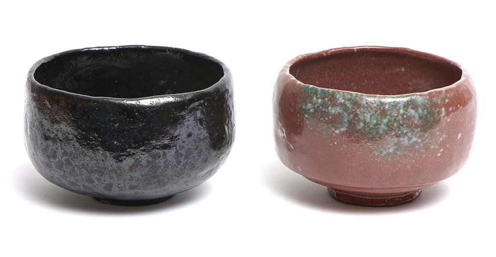 Set of two raku-ware tea-bowls (chawan) in boxes; one red-brown by Masamune