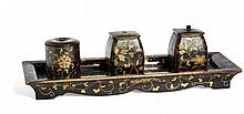 A TRAY (KÕBON) AND THREE BOXES WITH LIDS (TAKIGARA-IRE) Japan, 19th century