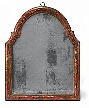 A SMALL LACQUERED AND PARTIALLY GILT WOOD MIRROR FRAME