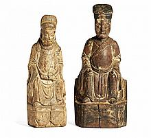TWO FIGURES OF OFFICIALS SEATED IN WESTERN FASHION China, Ming dynasty, 17th century