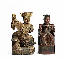TWO LARGE FIGURES OF DAOIST OFFICIAL (CAISHEN?) China, Qing dynasty, 18th-19th century