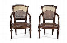 A SET OF FOUR CANED ARMCHAIRS Genoa, end of 18th Century