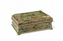 A CARVED AND PAINTED WOOD BOX Piedmont, 18th Century