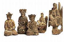 A GROUP OF FIVE FIGURES OF GUANYIN
