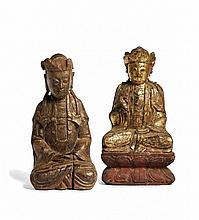 TWO FIGURES OF BODHISATTVAS China, Ming dynasty, 17th century