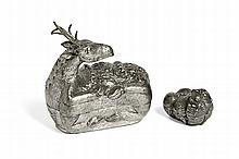 TWO BETEL NUTS BOXES IN THE SHAPE OF A LION AND DEER China, Qing dynasty, and Cambodia, 19th-early 20th century