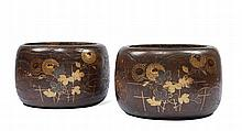 A PAIR OF BRAZIERS (HIBACHI)