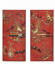 A PAIR OF PANELS IN CHINOISERIE Piedmont (Italy), second half of the 18th century