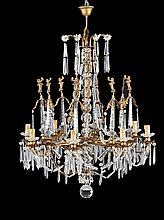 A EIGHT LIGHTS GILT BRONZE AND CUT-GLASS CHANDELIER France, 19th Century