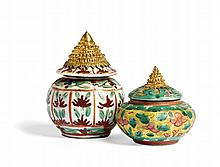 TWO BENCHARONG VASES WITH STUPA-SHAPED LIDS