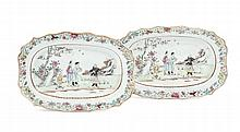 A PAIR OF SMALL TRAYS PAINTED IN FAMILLE ROSE
