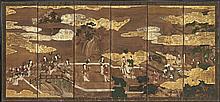 A SIX PANEL SCREEN Japan, Edo period, 18th-19th century
