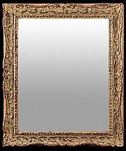 A CARVED, PAINTED AND GILT WOOD MIRROR FRAME Probably first half of 18th Century
